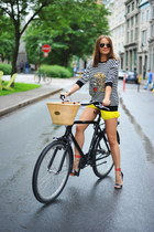 yellow Zara shorts - black Zara sweatshirt - red Tibi sandals