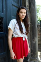 red Urban Outfitters dress - light blue vintage blouse