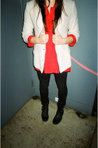 off white vintage blazer - black gifted boots - red vintage blouse