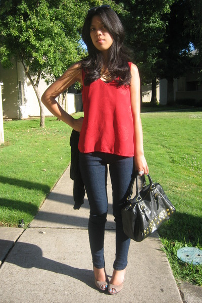 red Soma top - blue Forever 21 jeans - gray Bandolino shoes - black Steve Madden