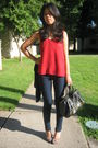 Red-soma-top-blue-forever-21-jeans-gray-bandolino-shoes-black-steve-madden