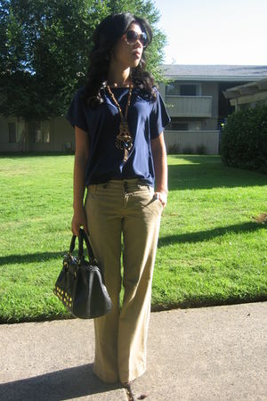 blue Bentley top - beige American Eagle pants - beige Grandmas necklace - black