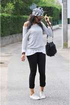 white Converse All Star shoes - periwinkle Zara sweater - black H&M bag - black