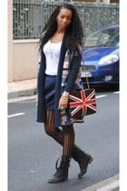 navy chanel bag bag - navy H&M skirt - navy H&M cardigan - beige Zara top