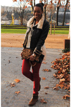 black coat - brown boots - ruby red jeans