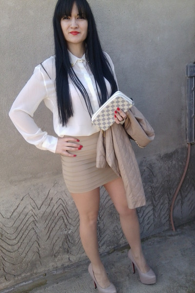 girly herve leger skirt - leather emelie shoes