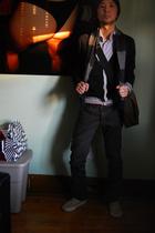 Primark sweater - Custom tailored button-down shirt - Holt Renfrew scarf - H&M j
