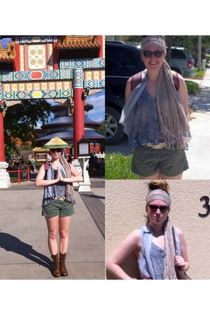 camel Urban Outfitters scarf - army green Lucky Brand shorts