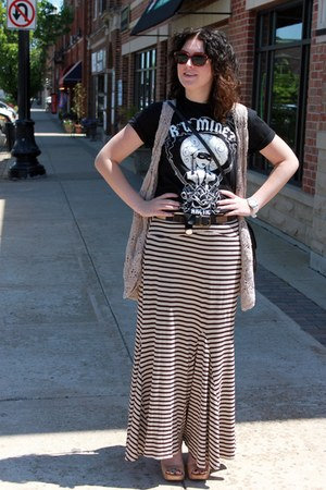 black Arctic Monkey shirt - beige Anthropologie skirt - light brown vintage vest
