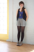 gray modcloth boots - black modcloth tights - gray modcloth shorts - blue modclo