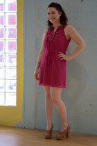 pink modcloth dress - light brown modcloth heels