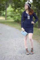 camel modcloth wedges - navy modcloth dress - light blue modcloth bag