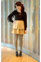 olive green modcloth tights - black modcloth top - camel modcloth skirt - black