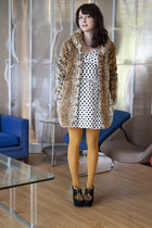 white modcloth dress - camel modcloth coat - gold modcloth tights - black modclo