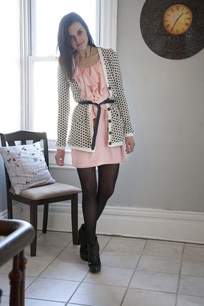 ivory modcloth cardigan - light pink modcloth dress - black modcloth tights