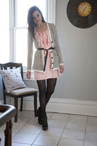 ivory modcloth cardigan - light pink modcloth dress - black modcloth tights
