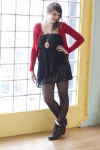 black modcloth dress - black modcloth shoes - black modcloth tights - ruby red m