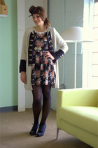 ivory modcloth coat - black modcloth dress - navy modcloth accessories - navy mo