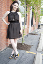 black modcloth dress - black modcloth heels - silver modcloth necklace