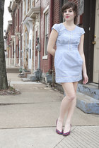 sky blue modcloth dress - ruby red modcloth heels