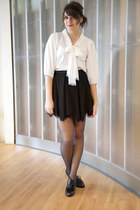 black modcloth shoes - black modcloth tights - black modcloth skirt - white modc