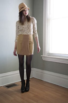 camel modcloth hat - black modcloth tights - camel modcloth skirt - black modclo