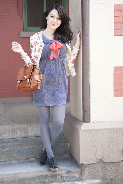 blue modcloth dress - burnt orange modcloth bag - coral chuti modcloth cardigan
