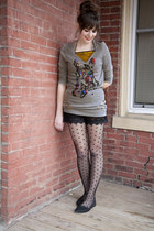 heather gray modcloth sweater - black polka dot modcloth tights - black modcloth