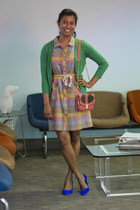 cream modcloth dress - teal modcloth scarf - pink modcloth purse