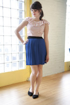 white modcloth top - blue modcloth skirt - black modcloth flats