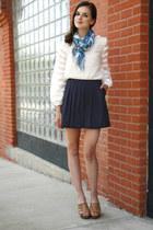 white modcloth top - sky blue modcloth scarf - navy modcloth shorts