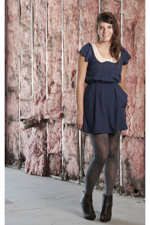 blue modcloth dress - gray modcloth tights - brown boots
