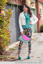 white modcloth jacket - light blue modcloth purse - hot pink modcloth pants