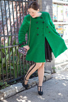 green modcloth coat - black modcloth dress - hot pink modcloth purse