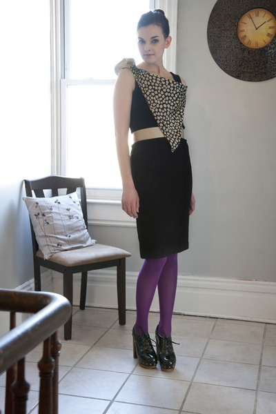 black modcloth dress - purple modcloth tights - black modcloth heels