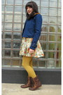 Beige-modcloth-dress-blue-modcloth-jacket-brown-thrifted-belt-gold-tights-