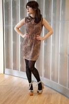 brick red modcloth dress - black modcloth tights - black modcloth wedges