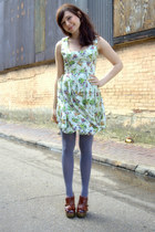 off white modcloth dress - charcoal gray modcloth tights - brown modcloth wedges