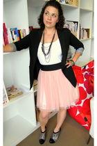 black blazer - white top - pink modcloth skirt - silver modcloth boots - black n