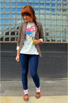 pink Annie Greenabelle blazer - gray thrifted t-shirt - pink Betsey Johnson sock