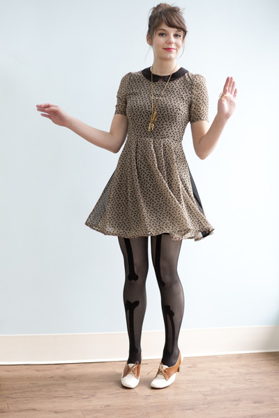 modcloth dress - modcloth tights - modcloth heels - modcloth necklace