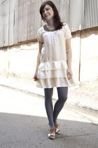 ivory modcloth dress - charcoal gray modcloth tights - white 8020 modcloth wedge