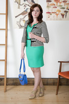 aquamarine modcloth dress - blue modcloth bag - black modcloth cardigan