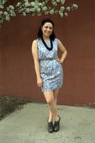 sky blue modcloth dress - gray modcloth wedges - black modcloth necklace