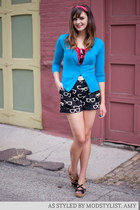 black modcloth shorts - red modcloth dress - sky blue modcloth cardigan