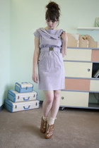 white modcloth dress - cream modcloth socks - brown modcloth wedges