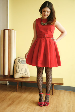 red modcloth dress - black modcloth tights - red modcloth heels