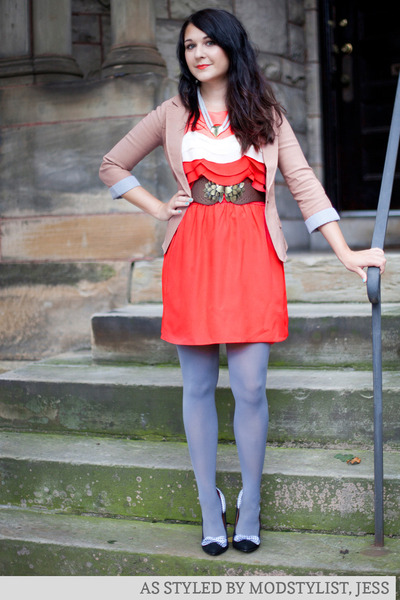 salmon modcloth dress - light pink modcloth blazer - periwinkle modcloth tights