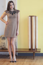 light brown modcloth dress - beige modcloth shoes