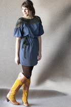 blue modcloth dress - gold modcloth boots